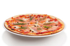 Smoked salmon pizza Stock Image