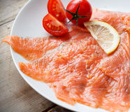 Smoked Salmon on plate Stock Image
