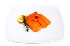 Smoked salmon on plate Royalty Free Stock Photo