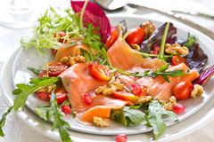 Smoked salmon with pomegranate salad Royalty Free Stock Image