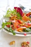Smoked salmon with pomegranate salad Royalty Free Stock Image