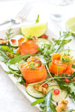 Smoked salmon with pomegranate salad Royalty Free Stock Photography