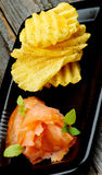 Smoked Salmon and Potato Chips Stock Photography