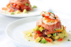 Smoked Salmon with Prawns stock images