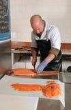 Smoked salmon preparation Royalty Free Stock Photo