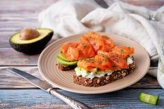 Free Smoked Salmon Ricotta Cheese  Rye Sandwich Stock Images - 217744174