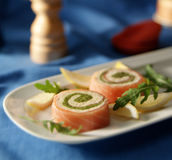 Smoked salmon role Stock Images
