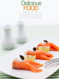 Smoked salmon roll with cream cheese. Stock Photography