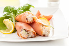 Smoked salmon roll with vegetable salad Stock Image