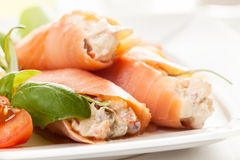 Smoked salmon roll with vegetable salad Stock Photography