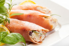 Smoked salmon roll with vegetable salad Stock Photo
