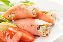 Smoked salmon roll with vegetable salad Royalty Free Stock Photos