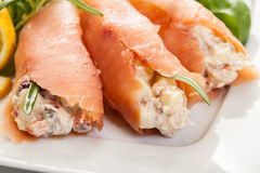 Smoked salmon roll with vegetable salad Stock Images