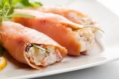 Smoked salmon roll with vegetable salad Stock Photos