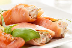 Smoked salmon roll with vegetable salad Royalty Free Stock Photography