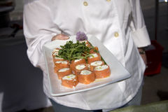 Smoked salmon rolls Royalty Free Stock Images