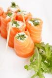 Smoked salmon rolls Stock Photo