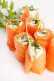 Smoked salmon rolls Stock Photo