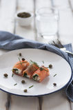 Smoked salmon rolls Stock Image