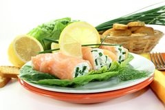 Smoked salmon roulade Royalty Free Stock Photos