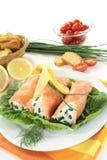 Smoked salmon roulade Stock Photo