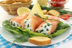 Smoked salmon roulade Royalty Free Stock Image