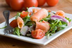 Smoked salmon with salad Royalty Free Stock Photo