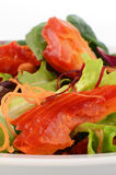 Smoked salmon salad. With fresh baby greens Stock Photo
