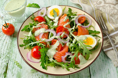Smoked salmon salad with arugula, tomatoes, eggs and red onion stock image