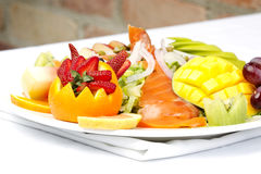 Smoked salmon salad with fresh fruit Royalty Free Stock Photography