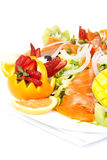 Smoked salmon salad with fresh fruit Royalty Free Stock Images