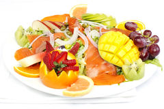Smoked salmon salad with fresh fruit Royalty Free Stock Photo