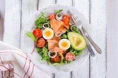 Smoked salmon salad with greens Royalty Free Stock Photography