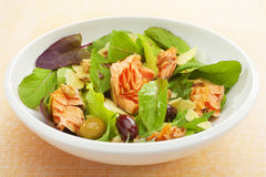 Smoked Salmon Salad with Lettuce and Olives Stock Photo