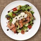 Smoked Salmon Salad with Potato Rosti. And creme fraiche.  Overhead view Royalty Free Stock Image