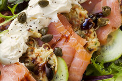 Smoked Salmon Salad with Potato Rosti Royalty Free Stock Photography