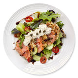 Smoked Salmon Salad with Potato Rosti. And creme fraiche.  Overhead view, isolated on white Stock Photo