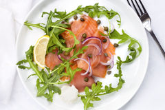 Smoked Salmon Salad with Red Onion and Capers Royalty Free Stock Photos