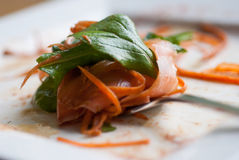 Smoked salmon salad with rocket Stock Images