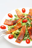 Smoked salmon salad with topped fresh tomato Royalty Free Stock Photo