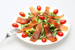 Smoked salmon salad with topped fresh tomato Royalty Free Stock Image