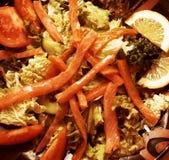 Smoked salmon salad with tuna and prawns Royalty Free Stock Image
