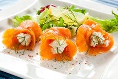 Smoked salmon salad Royalty Free Stock Images