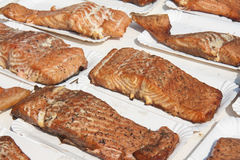 Smoked salmon for sale at a market Royalty Free Stock Images
