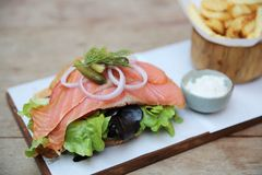Free Smoked Salmon Sandwich Royalty Free Stock Images - 136987249