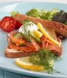 Smoked salmon sandwich Stock Photo