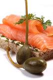 Smoked salmon sandwich, capers Stock Photography