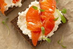 Smoked salmon sandwich with cream cheese close-up. Tasty snack. Selective focus royalty free stock photos