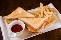 Smoked salmon sandwich Royalty Free Stock Photography