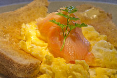 Smoked salmon and scrambled egg Royalty Free Stock Photography